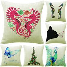 18'' hippo Pattern Cotton Linen Pillow Case Cushion Cover Sofa Home Decor