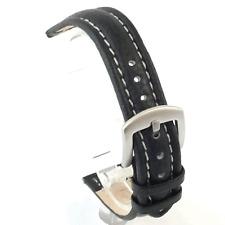 Largo negro de cuero correa de reloj: Acolchado / Matt hebilla: 20 mm, 22mm, 24 mm (W0)