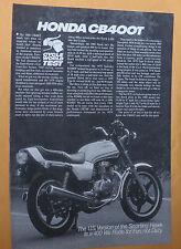 1980 Honda CB400 T / Cycle World Test - Brochure - Literature