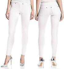 HUE White The Original Jeans Solid Color Stretch Denim Leggings U13360, MSRP $40