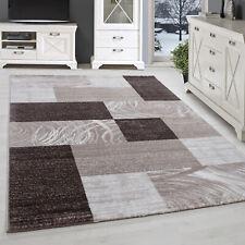 Teppich Modern Design Wohnzimmer Kurzflor Kariert Karo Muster Braun Beige Creme