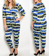 Plus Size Women jumpsuits romper summer stripes casual party 1X 2X 3X