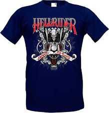 T-Shirt in navy blue with Biker Chopper & Old School Motif Model Hellrider