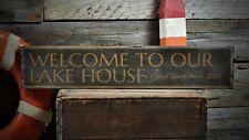 Custom Lake House Est. Date Sign - Rustic Hand Made Vintage Wooden ENS1001088