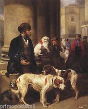 TOY SPANIEL ST. BERNARD DOG DOGS SELLER PAINTING BY THOMAS BLINKS REPRO