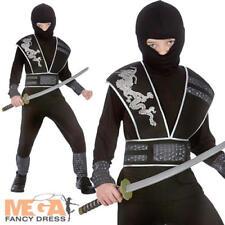 Elite Ninja Boys Fancy Dress Japanese Warrior Fighter Kids Childs Costume Outfit