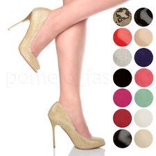 Para Mujer Damas Tacón Alto Peep Toe De Zapatos Tenis del partido de Tarde Prom Sandalias Bombas