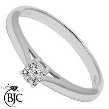 BJC 9 Ct Or Blanc Diamant 0.10ct TAILLE P - Q solitaire bague de fiançailles R95