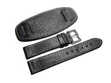 Uhrenarmband - mit Unterlage - genarbt - schwarz - 18,20,22,24 mm