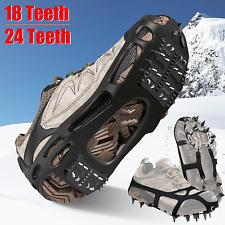 18/24Teeth Anti-Slip Ice Snow Climbing Shoe Covers Spike Cleats Crampons Gripper