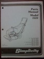 SIMPLICITY PARTS MANUAL MODEL,1221 PUSH MOWERS