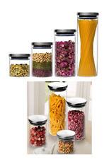 Vorratsdose Glasbehälter Edelstahl  Dose Glas Luftdicht stapelbar