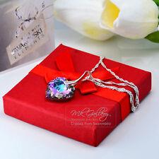 VALENTINES Crystals from Swarovski®925 Silver Necklace Vitrail Light 18mm Heart