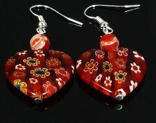 Rojo Amor Corazón Pendientes De Plata Esterlina Cristal Vidrio Millefiori