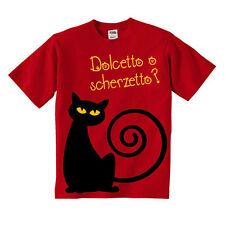 Simpatica t-shirt bambino o bambina Dolcetto o scherzetto, gatto nero Halloween!