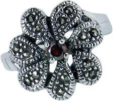 925 ECHT SILBER *** Granat Markasit Ring Blume, Größenauswahl