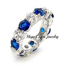 Hcj Silver Tone Blue & White Cz Bridal Wedding Eternity Ring Size 6-10