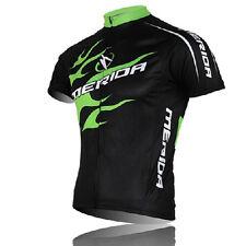 MERIDA Men's Cycling Jerseys Green Fire Short Sleeve MTB Bike Bicycle Jersey Top