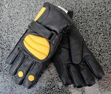 Kids Childrens Leather Textile Motorbike Waterproof Splash Glove Black/Yellow T
