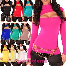 Maglia maglietta top donna oblò blusa lupetto dolcevita scollata GT-1