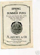 A Jaeckel & Co Furriers Fur 1920's Original Vintage Ad
