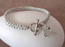 Bracelet Macramé amitié GRIS * Fermoir argenté * Friendship gray silver handmade