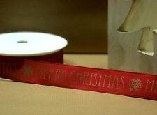 """RUBAN NOËL 25MM Large """" Joyeux Noël """" - doré en rouge - Papier cadeau"""