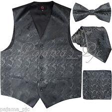 CHARCOAL XS - 6XL Paisley Tuxedo Dress Vest Waistcoat & Neck tie & Bowtie Hanky