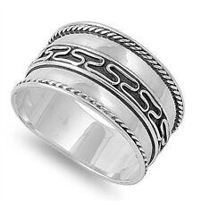 Silver Ring Bali Design Sterling 925 Hand Made Sz 6 7 8 9 10 11 12 Black Antique
