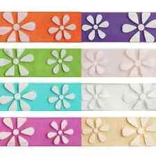 15mm x 3.5m White Daisies On Multi Colour Ribbon Celebration