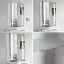 LED Illuminated Strip Mirror Cabinet Cupboard Bathroom Touch Switch Fog Demister