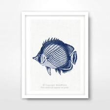 TROPICAL FISH ILLUSTRATION SEASIDE NAUTICAL ART PRINT Blue Decor Wall Artwork