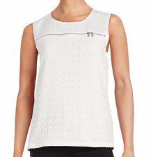 Calvin Klein M6CH8081 White Eyelet Zipper Detail Tank w/Stretch Knit Back $69.50