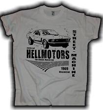 Ford Mustang US Car V8 Hot Rod Fastback T-Shirt Rockabilly Schrauber Garage grau