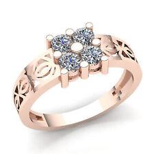 0.33ctw Round Brilliant Diamond Ladies Accent Flower Bridal Fancy Ring 14K Gold