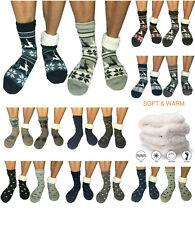 2 Pairs Men Winter Thermal Fleece Lined Knit Thick Slipper Socks Non Skid Socks
