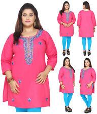 PLUS SIZE - Women Embroidery Tunic Kurta Top Cotton Pink Shirt Dress EPLUS114D