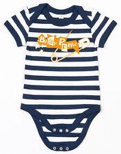 BABY PUNK Sicherheitsnadel Baby-Body blau/weiss gestreift