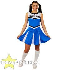 LADIES HIGH SCHOOL BLUE CHEERLEADER DRESS FANCY DRESS COSTUME UNIFORM OUTFIT