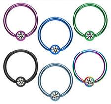 12pcs Titanium IP Gem Captive Bead Rings Wholesale CBR Body Jewelry
