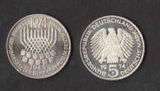 GERMANIA GERMANY 5 Mark 1974 SILVER MARCHI  ARGENTO COSTITUZIONE DELLA RFT