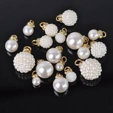 10pcs Gold ABS Imitation Crystal Rhinestones Pearl Pendant DIY Earring Findings