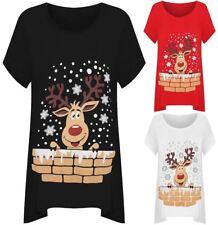 Womens Christmas Reindeer Snowflake Hanky Hem Top Plus Size Short Sleeve Hanky