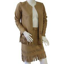Women's Costume Vestito Da Ballo Camel Suedette giacca e gonna con nappa