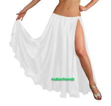 White - Satin 2 Slit Full Skirt Belly Dance Gypsy Tribal 9 Yard Panel Jupe
