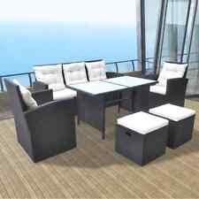 vidaXL Conjunto de Muebles de Jardín Pack 18 Piezas Poli Ratán de Color Negro