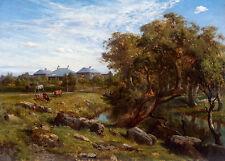 Louis Buvelot - Terrinallum House and Emu Creek, Australian Art, Canvas Print