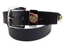 Hombre Alta Calidad Cuero Negro Cinturón con hebilla de plata de Milano