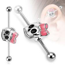 14g Steel Industrial Barbell Piercing Body Jewelry Skull Ribbon Dove