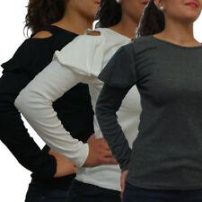 maglia donna manica lunga volant t-shirt maglietta maniche lunghe